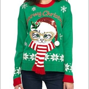 """""""Meowy Christmas"""" sweater by New Directions sz mp"""